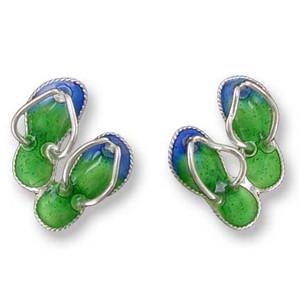 Flip Flops Sterling Silver Post Earrings 71-94-01