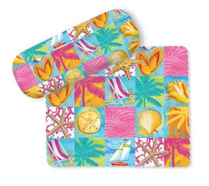 "Beach Theme Eyeglass Case with Cleaning Cloth ""Beach Patchwork""  - 804-93"