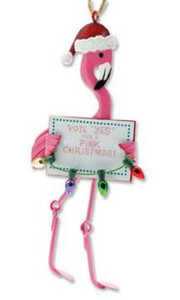 """Pink Flamingo """"Vote Yes"""" Christmas Ornament  - 856-80"""