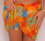 Short Sarong Sheer Orange with Plumeria Flowers -  900FO