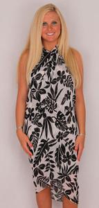 Sarong Full Size Sheer Floral Black & White - 9601-4248W
