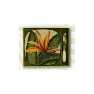 Bird of Paradise Tile and Cheese Knife - Ceramic Stoneware - 99-11359-100