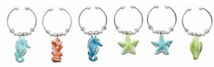 Sea Shell & Seahorse Wine Glass Charms Markers - Set of 6 - 05396