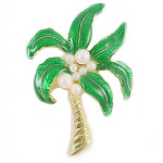Palm Tree Pin with Enamel & Pearls- AB6759