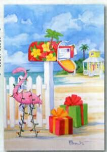 Christmas Cards Pink Flamingo at the Mailbox - Box of 10 - C71482