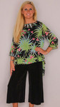 Tropical Floral Chiffon Top with Tank and Gaucho Pants - 3 Piece Set Black Sz Small - 7189