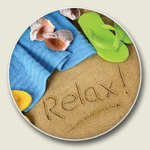 """Beach """"Relax""""  Absorbent Stone Coaster for Car Cup Holder - CC-164"""