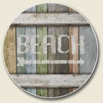 Rustic Beach Sign Absorbent Stone Coaster for Car Cup Holder - CC-379
