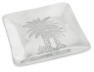Palm Tree Embossed Aluminum Metal Small Dish - 9401