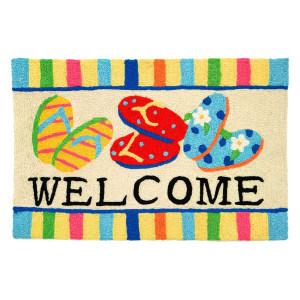 """Flip Flops Rug """"Welcome"""" Indoor Outdoor Washable - JB-RR011"""