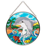 "Friendly Dolphin Art Glass 4.5"" Suncatcher MC275"