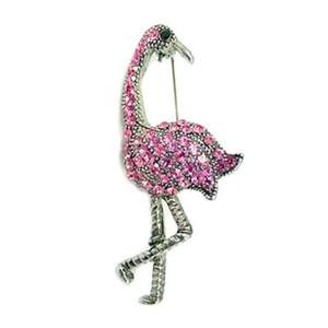 Pink Flamingo Pin with Rhinestones - Silvertone - P3223S