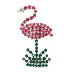 Pink Flamingo Pin All Rhinestone - P986