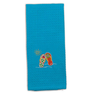 Beach Time Flip Flops Embroidered Waffle Towel R6224