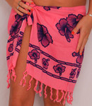 Sarong Short Size - Pink with Violet Flowers - SAR88