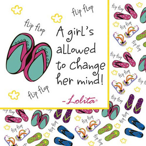 """Flip Flop Paper Cocktail Napkins Pk of 20 """"A Girl's Allowed by Lolita"""" - TW4-8179"""