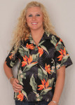 Aloha Blouse  - Bird of Paradise on Black – 346-3470