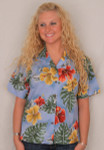 Aloha Blouse  - Hibiscus Flowers on Light Blue  - 346-3523