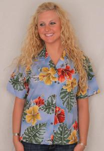 Aloha Blouse  - Hibiscus Flowers on Light Blue  - 346-3523