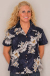 Aloha Fitted Blouse  - Navy w White Flowers - 348-3162