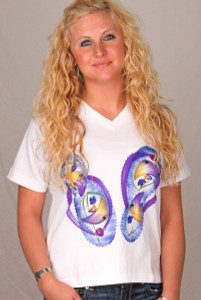 Flip Flop Design Tee Shirt with Beaded Design by Coconut Reef - SVTSWHR