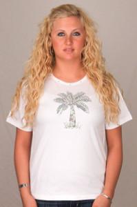 Palm Tree Tee Shirt - White with Rhinestones 910-800