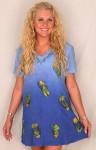 Raya Sun Hand Painted Short Sleeve Dress Flip Flop Design - 2 Color Choices - 4619