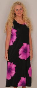 Hibiscus Flowers Long Tank Dress - Purple Size Medium - DRS852-FL-P