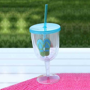Flip Flops Blue Acrylic Wine Goblet 17oz 60840B
