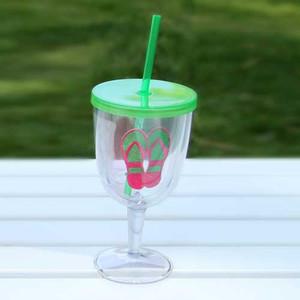 Flip Flops Green Acrylic Wine Goblet 17oz 60840G