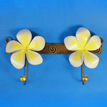 Plumeria Decorative Double Metal Wall Hook Yellow 97-2-750