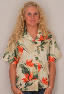 Aloha Blouse - Bird of Paradise on Cream – 346-3470C