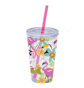 Flamingo and Friends Plastic Tumbler with Lid & Straw - 10662
