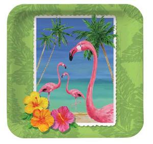 "Flamingo Tropical Paper Plates 7"" 412447"