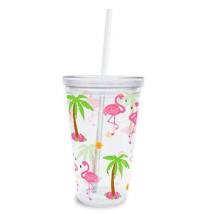 Pink Flamingo Palm Trees Insulated Plastic Tumbler Lid Straw - 814-89