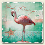 Pink Flamingo Tumbled Tile Trivet - TTT-047