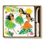 Island Hula Honeys Cheese Tile & Knife Set - Ceramic Stoneware - 47555000