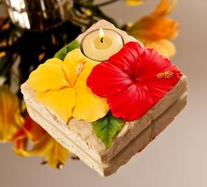Hibiscus Flower Nature Light Tea Light Holder - 12705