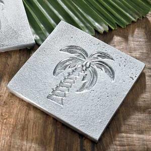 Palm Tree Embossed Metal Trivet - 12716