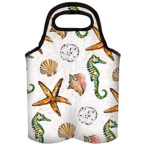 Sea Life Starfish Seahorse Shell Insulated Double Wine Bag 4WBI4419
