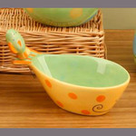 Ceramic Tropical Fish Bowl w/ Spreader 12282