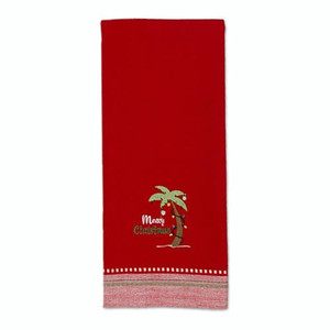 Coastal Christmas Embroidered Dishtowel Red 27432R