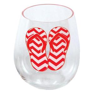 Shatterproof Flip Flop Stemless Wine Glass Pink 18oz 60150R