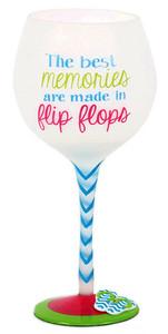 Flip Flop Memories Hand Painted Wine Glass 18oz 60340M