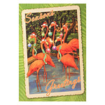 Flamingo Beach Holiday Season Greetings Single Christmas Card