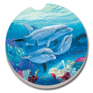 Blue Sea Dolphins Nautical Absorbent Stone Coaster for Car Cup Holder - 19457