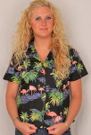 Aloha Fitted Blouse  - Pink Flamingo on Black Size Small- 348-3416B