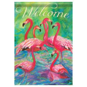 "Flamingos Welcome - House Standard Flag - 28"" x 40"" - 47344"