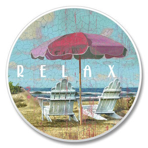 """Beach """"Relax"""" Absorbent Stone Coaster for Car Cup Holder - 03-473"""