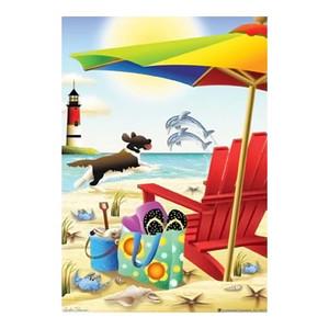 Lighthouse Beach Fun in Sun House Flag - JFL153L
